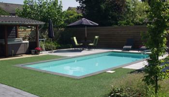 staalwand zwembad in de tuin