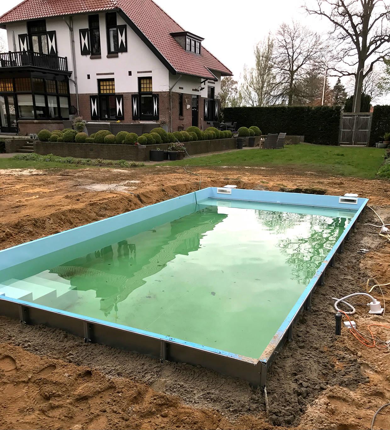 staalwand zwembad in vorden aqua zwembaden